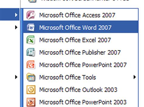 how to open word 2007 from the start button dummies