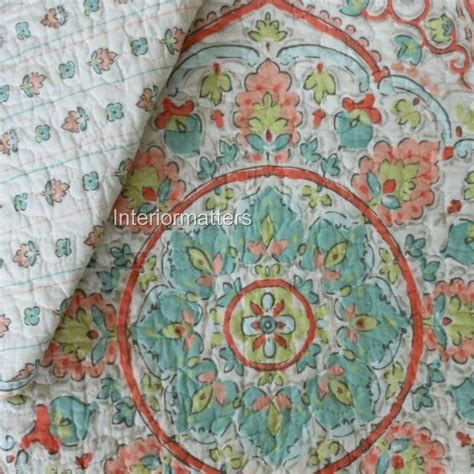 Cynthia Rowley Floral Quilt by Cynthia Rowley Xl Medallion 3pc Quilt Set Teal Coral