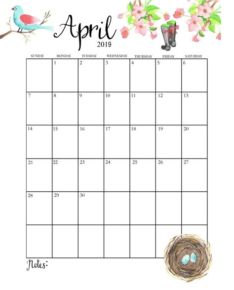 april  calendar cute printable year calendar