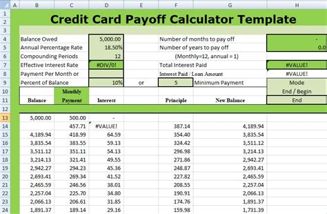 credit card debt template excel credit card payoff calculator template xls xlstemplates