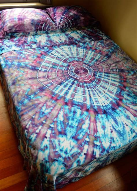 psychedelic bed set hand dyed tranquillity queen sheet set in soft tie dye