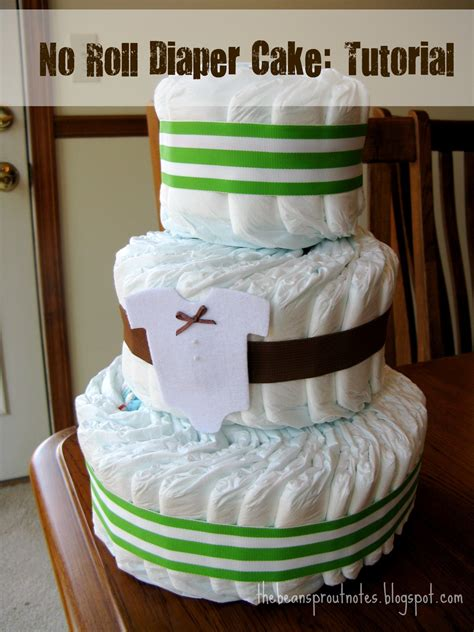 How To Make A Cake From Diapers For Baby Shower by The Bean Sprout Notes No Roll Cake Tutorial