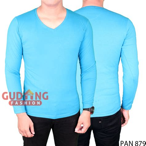 Kaos Basic Lengan Panjang kaos basic simple pria lengan panjang spandek biru muda