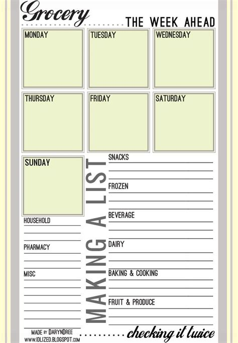 free printable grocery list free printable grocery list organization pinterest