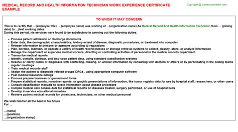 Registered Health Information Technician Cover Letter by Registered Health Information Technician Work Experience Letters Sles