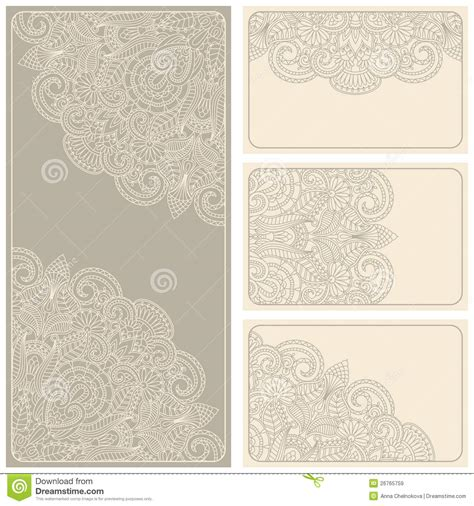 Vector Vintage Invitation Card Set Stock Vector Image 26765759 Vintage Card Templates