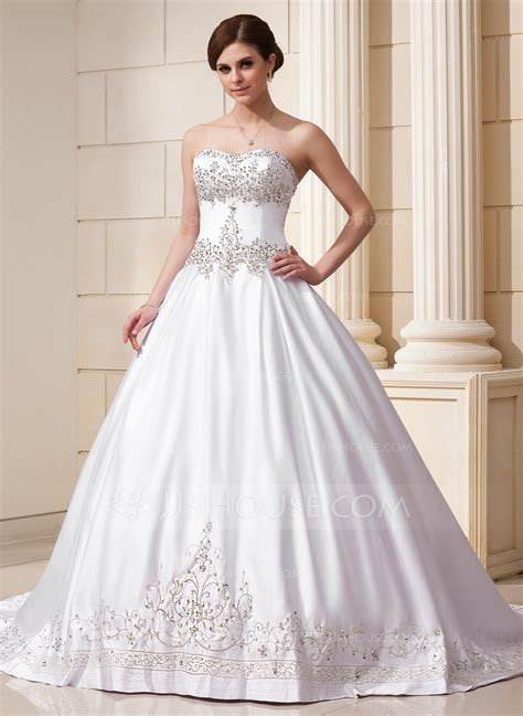 wedding dress beading gown sweetheart chapel satin wedding dress with