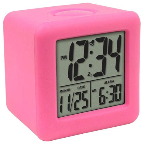 la crosse technology 3 1 4 in x 3 1 4 in soft pink cube lcd digital alarm clock 70902 the
