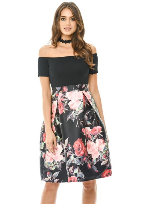 Skirted Dresses by 2 In 1 Printed Shoulder Skirt Dress