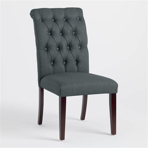 charcoal gray tufted dining chairs set of 2