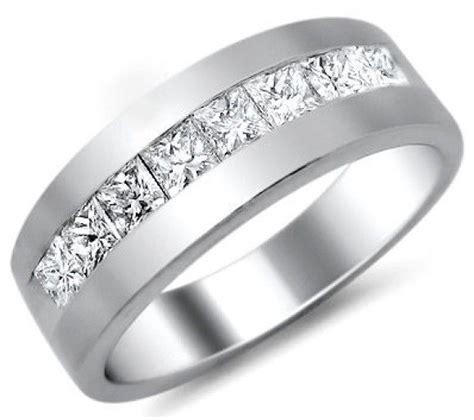 mens 1 0ct princess cut wedding band ring platinum