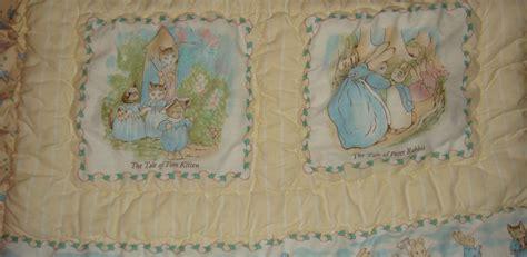 vintage beatrix potter rabbit quilted ruffled crib