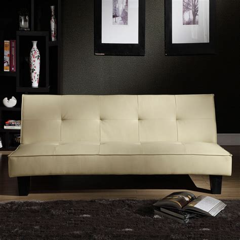 small futon bed convertible home bento beige faux leather modern mini