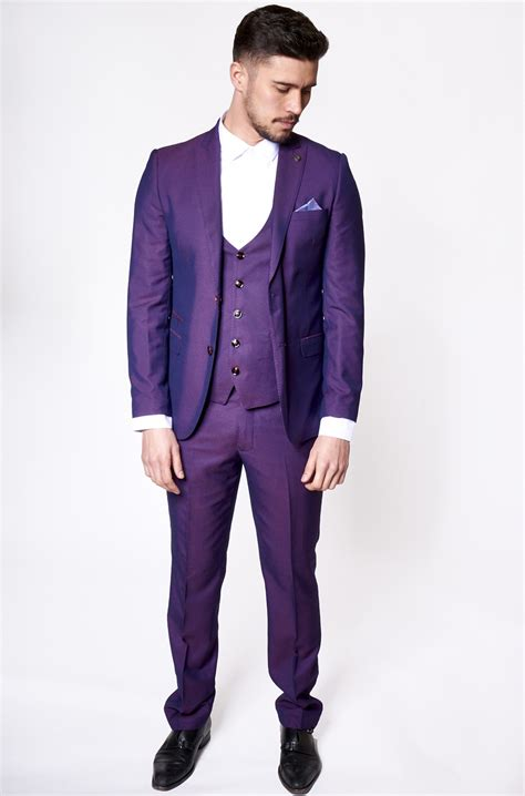 Traditional Home Style by Mens Suit Three Piece Purple Tailored Belmont