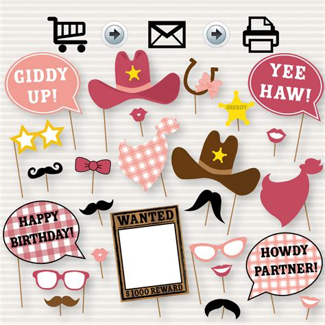 printable cowgirl party decorations cowgirl photo booth printable party props western party