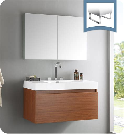 Modern Vanity Bathroom Fresca Fvn8010tk Mezzo Modern Bathroom Vanity With Medicine Cabinet In Teak