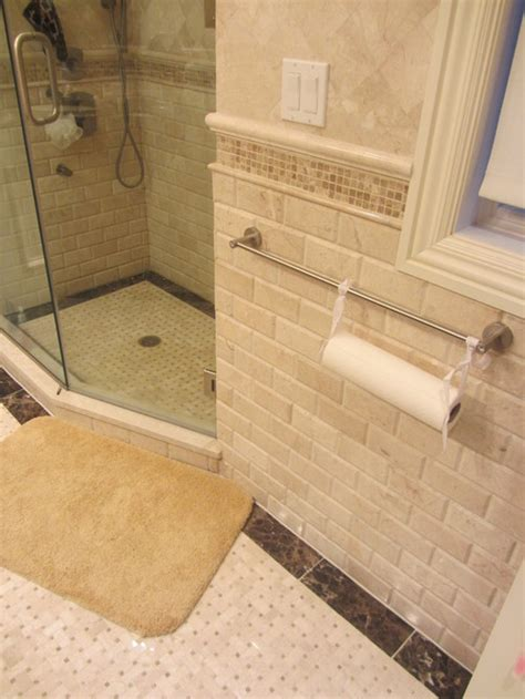 bathroom tile ideas traditional the subway tile is it travertine or porcelain thanks