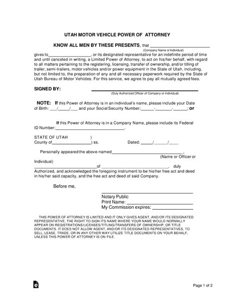 Free Utah Motor Vehicle Power Of Attorney Form Word Pdf Eforms Free Fillable Forms Power Of Attorney To Sell A Car Template