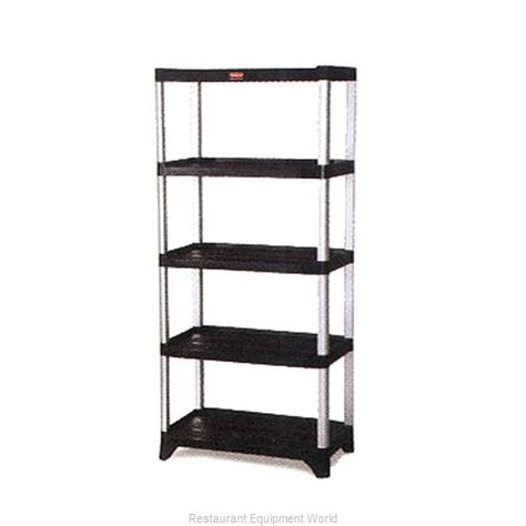 rubbermaid fg9t3900bla shelving unit plastic with metal post