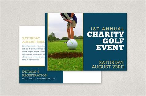 post card template event background charity golf event postcard template postcard design