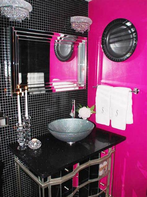 pink and black bathroom decor girly bathroom ideas