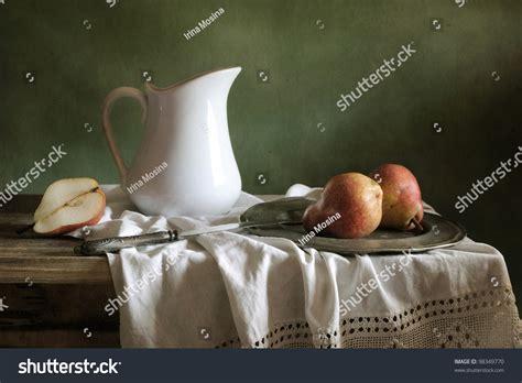 still life with drapery still life drapery red pears stock photo 98349770