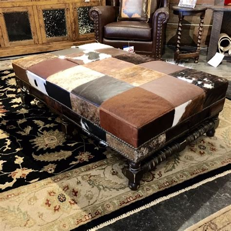Leather Patchwork Ottoman - patchwork leather cowhide ottoman at anteks in dallas