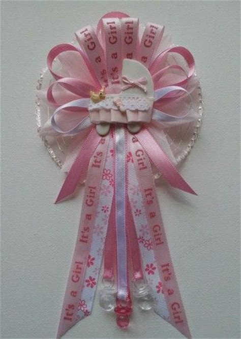 Baby Shower Corsage by Pink Flower With Baby Carriage Baby Shower Corsage