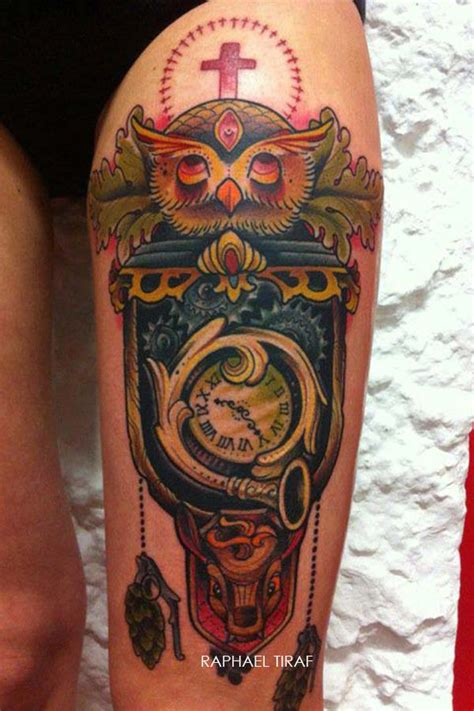 tatouage horloge hibou avec des grenades inkage