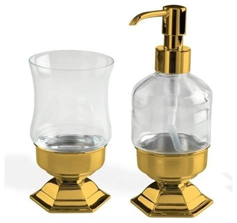 gold toothbrush tumbler and soap dispenser accessory set