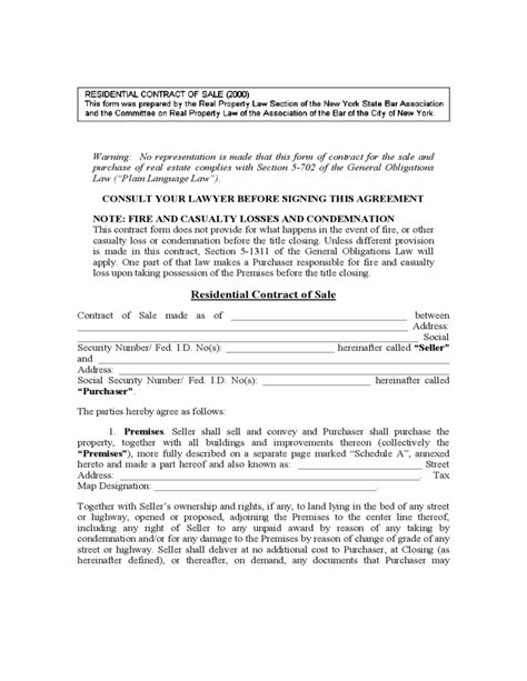 House Sale Contract Form New York Free Download House Letting Contracts Template