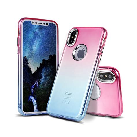 Iphone 55s Two Tone Colours Include Screen Protector wholesale iphone x ten two tone color hybrid hotpink blue