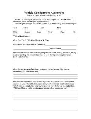 consignment form for cars 20 printable consignment agreement pdf forms and templates