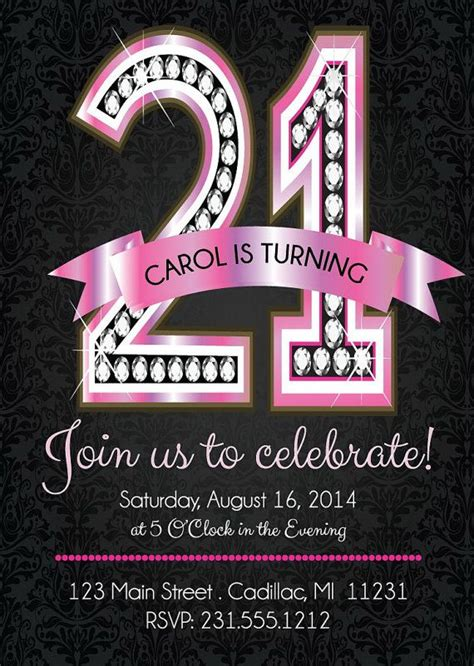 templates for 21st birthday cards 21st birthday invitations pink diamond 21st by