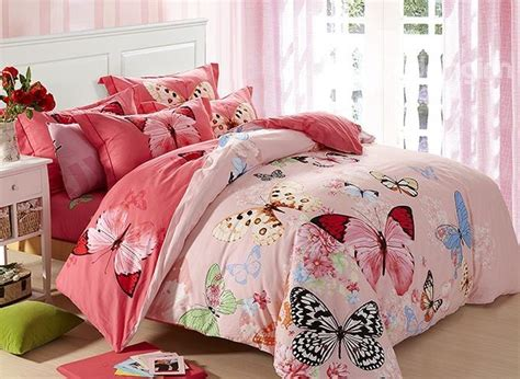 pink pattern bedding butterflies flying with flowers pattern cotton pink 4