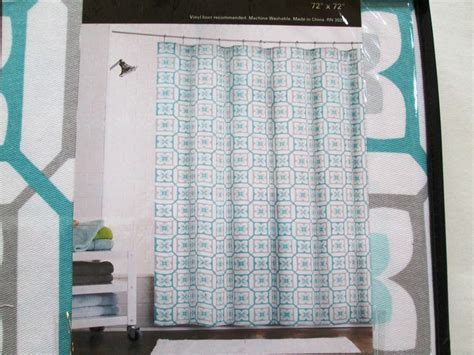 teal and grey shower curtain new max studio home fabric shower curtain grey aqua teal