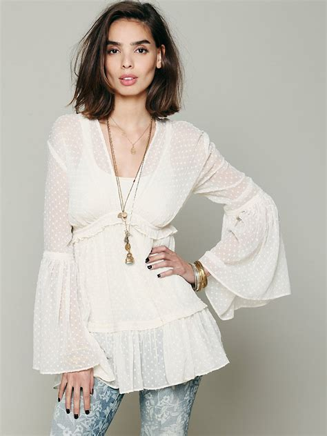 Blouse Cookies Bell lyst free swiss dot bell sleeve blouse in white