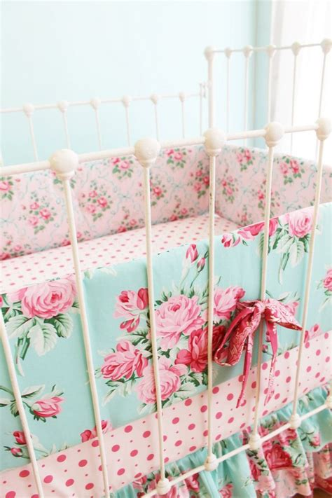 Pink And Blue Roses Baby Girl Crib Bedding Shabby Chic Shabby Chic Crib Bedding