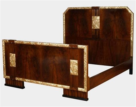 Gold Leaf Bedroom Furniture 1930s Italian Deco Bed With Bedside Tables In Burl Walnut Gold Leaf For Sale At 1stdibs