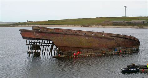 u boat in scapa flow rusting remains of an anti submarine net in scapa flow