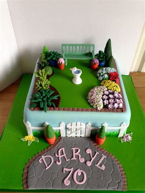 Garden Cakes Ideas 70th Garden Birthday Cake Yum Pinterest Gardens Garden Birthday Cake And Birthday Cakes