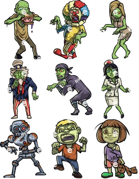 clipart zombie zombies vector cartoon clipart collection friendlystock