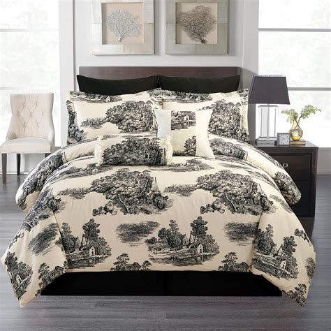 toile bedding total fab black and white cream toile damask comforters