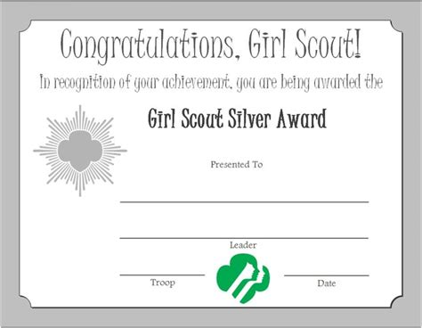 scout certificate templates scout silver award certificate scouts
