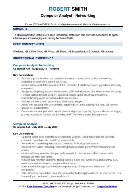 Network Analyst Resume Exle by Computer Analyst Resume Sles Qwikresume