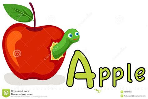 for a alphabet a for apple stock vector image of element 13747460