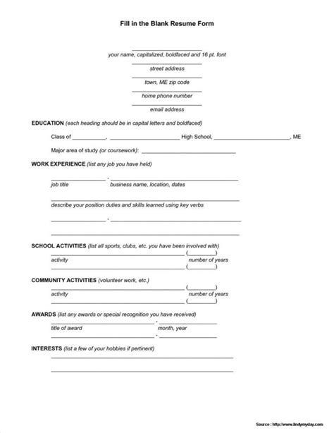 Fill In The Blank Resume by Printable Blank Application Form Pdf Application