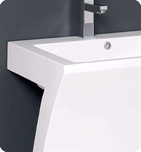 22? Quadro White Pedestal Sink ? Modern Bathroom Vanity