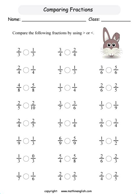comparing fractions printable grade 2 math worksheet