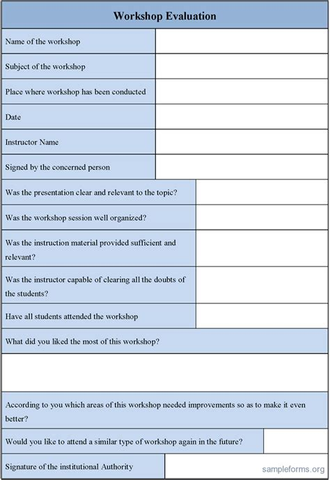 workshop feedback form template workshop evaluation form sle forms